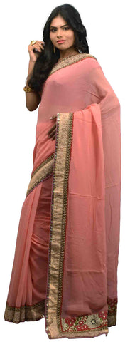 Pink Designer Georgette (Viscos) Hand Embroidery Zari Sequence Thread Work Saree Sari