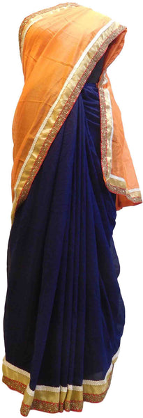 Orange & Blue Designer PartyWear Georgette Stone Zari Work Saree Sari