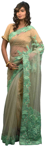 Grey Designer Wedding Partywear Net Thread Beads Stone Hand Embroidery Work Border Bridal Saree Sari