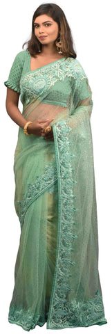 Turquoise Designer Wedding Partywear Net Thread Sequence Stone Hand Embroidery Work Border Bridal Saree Sari AKC942