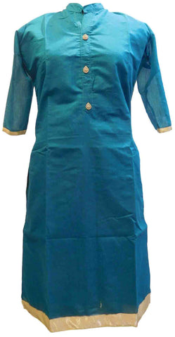 Aqua Blue Designer Cotton (Chanderi) Hand Embroidery Stone Work Kurti Kurta