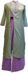 Green Designer Silk (Muslin) Hand Embroidery Thread Zari Sequence Work Butique Style Kurti Kurta With Matching Plazo D303