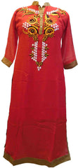 Red Designer Georgette Hand Embroidery Thread Pearl Work Kurti Kurta D307