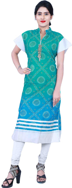 SMSAREE Green Blue & White Designer Casual Partywear Cotton (Supernet) Chunari Printed Stone Hand Embroidery Work Stylish Women Kurti Kurta With Free Matching Leggings D358