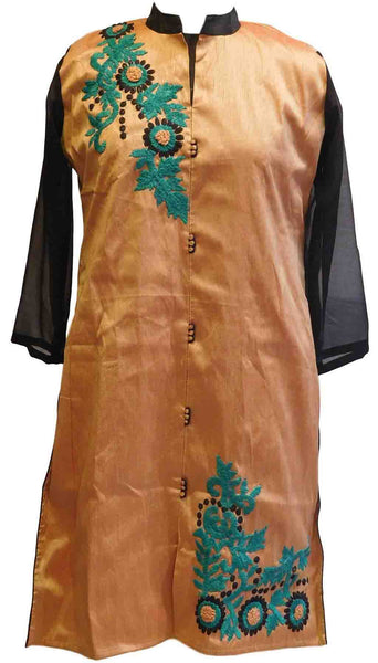 Orange & Black Designer Cotton (Chanderi) Kurti
