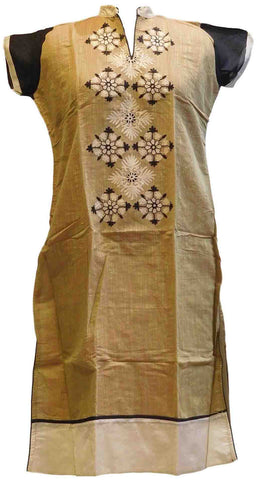 Cream, White & Black Designer Cotton (Chanderi) Kurti
