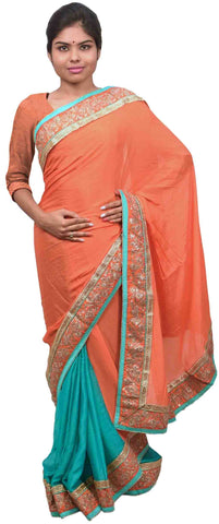 Orange & Turquoise Designer Wedding Partywear Crepe (Chinon) Hand Embroidery Sequence Zari Cutdana Stone Work Kolkata Saree Sari E181