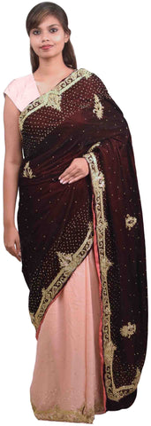 Wine & Pink Designer Wedding Partywear Velvet & Satin Silk Hand Embroidery Stone Thread Bullion Cutdana Work Kolkata Heavy Border Saree Sari E188