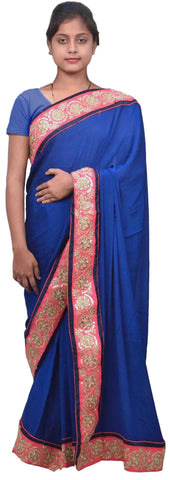 Blue Designer Wedding Partywear Ethnic Bridal Crepe (Chinon) Hand Embroidery Sequence Zari Work Kolkata Women Saree Sari E213