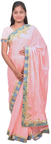 Pink Designer Wedding Partywear Ethnic Bridal Crepe (Chinon) Hand Embroidery Bullion Zari Stone Work Kolkata Women Banarasi Border Saree Sari E268