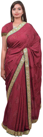 Wine Designer Wedding Partywear Ethnic Bridal Pure Crepe Hand Embroidery Cutdana Thread Bullion Stone Beads Work Kolkata Women Saree Sari E283