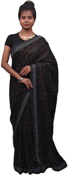 Black Designer Wedding Partywear Ethnic Bridal Pure Crepe Hand Embroidery Cutdana Thread Bullion Stone Beads Work Kolkata Women Saree Sari E347