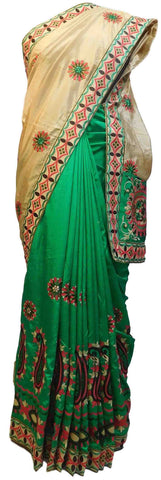 Cream & Green Designer Party Wear Silk Hand Embroidery Thread Work Saree Sari E365