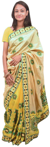 Cream & Yellow Designer Party Wear Silk Hand Embroidery Thread Work Saree Sari PSE366