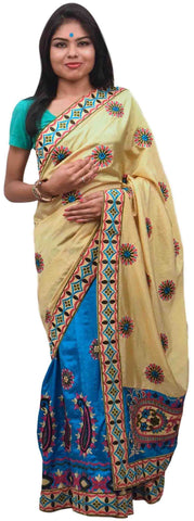 Cream & Blue Designer Party Wear Silk Hand Embroidery Thread Work Saree Sari E369