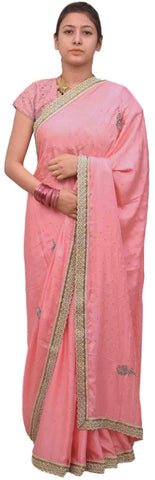 Pink Designer Wedding Partywear Satin Silk Cutdana Beads Pearl Zari Stone Hand Embroidery Work Bridal Saree Sari E388