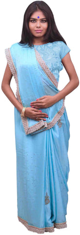 Blue Designer Wedding Partywear Satin Silk Cutdana Beads Pearl Zari Stone Hand Embroidery Work Bridal Saree Sari PSE391