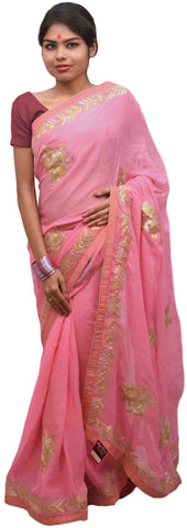 Pink Designer Wedding Partywear Georgette (Viscos) Hand Embroidery Gota Work Kolkata Saree Sari E418