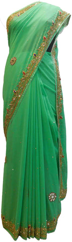 Green Designer Wedding Partywear Georgette Hand Embroidery Cutdana Mirror Thread Stone Beads Work Kolkata Saree Sari E441