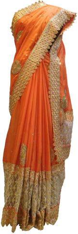 Orange Designer Wedding Partywear Crepe (Chinon) Hand Embroidery Beads Thread Pearl Stone Work Kolkata Saree Sari E462