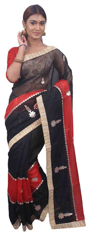 Black & Red Designer Wedding Partywear Supernet (Cotton) Hand Embroidery Zari Gota Work Kolkata Saree Sari E468