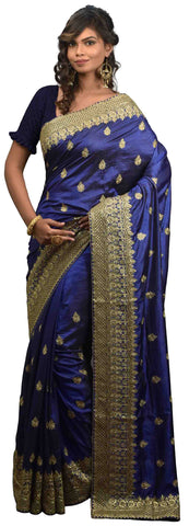 SMSAREE Blue Designer Wedding Partywear Silk Cutdana Stone & Zari Hand Embroidery Work Bridal Saree Sari With Blouse Piece E595