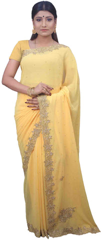 SMSAREE Yellow Designer Wedding Partywear Georgette Stone Thread & Cutdana Hand Embroidery Work Bridal Saree Sari With Blouse Piece E701