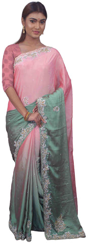SMSAREE Pink & Green Designer Wedding Partywear Crepe Stone Thread & Cutdana Hand Embroidery Work Bridal Saree Sari With Blouse Piece E713