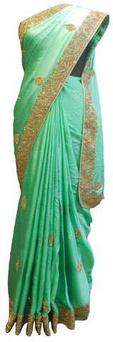 SMSAREE Green Designer Wedding Partywear Satin Silk Stone & Bullion Hand Embroidery Work Bridal Saree Sari With Blouse Piece E808