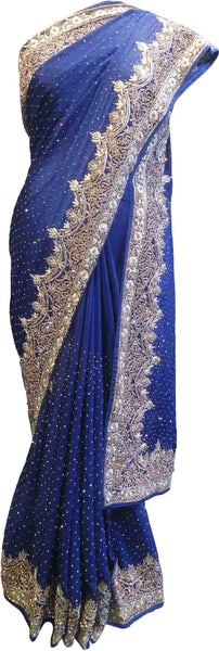 SMSAREE Blue Designer Wedding Partywear Pure Crepe Cutdana Thread Zari Bullion & Stone Hand Embroidery Work Bridal Saree Sari With Blouse Piece F068