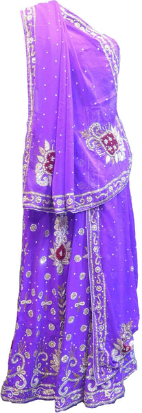 SMSAREE Purple Designer Wedding Partywear Georgette Cutdana Zari Beads & Stone Hand Embroidery Work Bridal Lahenga Dupatta Ghaghra Choli Bari Ki Til With Blouse Piece F108