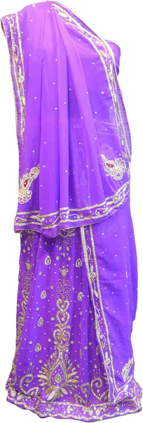 SMSAREE Purple Designer Wedding Partywear Georgette Cutdana Zari Beads & Stone Hand Embroidery Work Bridal Lahenga Dupatta Ghaghra Choli Bari Ki Til With Blouse Piece F110
