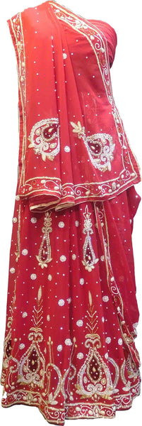 SMSAREE Red Designer Wedding Partywear Georgette Cutdana Zari Beads & Stone Hand Embroidery Work Bridal Lahenga Dupatta Ghaghra Choli Bari Ki Til With Blouse Piece F115