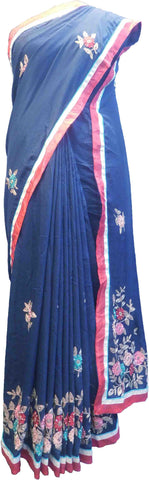 SMSAREE Blue Designer Wedding Partywear Satin (Silk) Cutdana Thread Sequence & Beads Hand Embroidery Work Bridal Saree Sari With Blouse Piece F219
