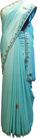 SMSAREE Blue Designer Wedding Partywear Satin (Silk) Stone Thread & Cutdana Hand Embroidery Work Bridal Saree Sari With Blouse Piece F251