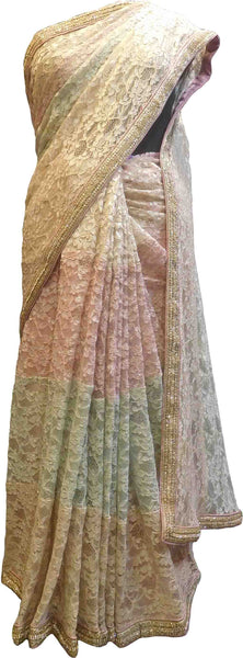 SMSAREE Beige Pink & Green Designer Wedding Partywear Net (Chantley) Cutdana Stone & Zari Hand Embroidery Work Bridal Saree Sari With Blouse Piece F416