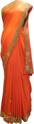 SMSAREE Orange Designer Wedding Partywear Crepe (Chinon) Stone Beads & Thread Hand Embroidery Work Bridal Saree Sari With Blouse Piece F439