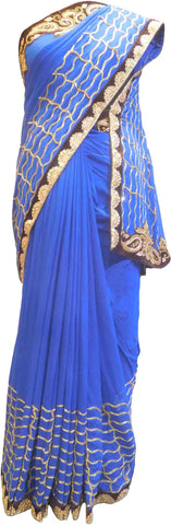 SMSAREE Blue Designer Wedding Partywear Georgette (Viscos) Stone Cutdana Bullion Thread & Zari Hand Embroidery Work Bridal Saree Sari With Blouse Piece F455