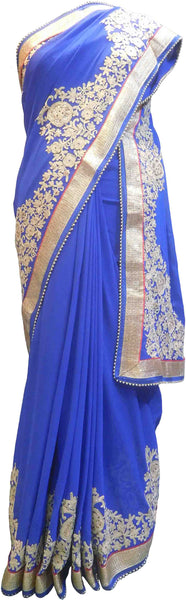 SMSAREE Blue Designer Wedding Partywear Georgette (Viscos) Stone Cutdana & Thread Hand Embroidery Work Bridal Saree Sari With Blouse Piece F464