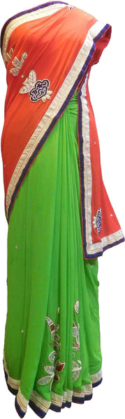 SMSAREE Red & Green Designer Wedding Partywear Georgette (Viscos) Stone Cutdana Pearl Bullion Thread & Zari Hand Embroidery Work Bridal Saree Sari With Blouse Piece F465