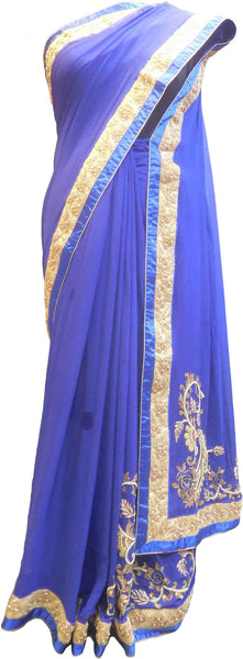 SMSAREE Blue Designer Wedding Partywear Georgette (Viscos) Stone Cutdana Pearl Bullion Thread & Zari Hand Embroidery Work Bridal Saree Sari With Blouse Piece F468