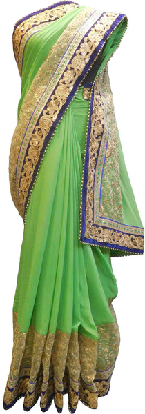 SMSAREE Green Designer Wedding Partywear Georgette (Viscos) & Net Pearl Sequence Thread & Zari Hand Embroidery Work Bridal Saree Sari With Blouse Piece F477