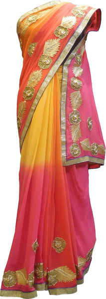 SMSAREE Pink Orange & Yellow Designer Wedding Partywear Georgette (Viscos) Gota & Zari Hand Embroidery Work Bridal Saree Sari With Blouse Piece F487