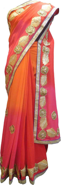 SMSAREE Pink Orange & Red Designer Wedding Partywear Georgette (Viscos) Gota & Zari Hand Embroidery Work Bridal Saree Sari With Blouse Piece F488