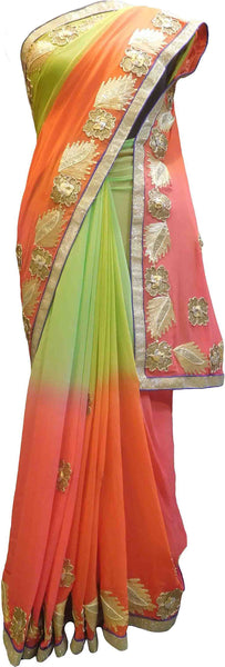 SMSAREE Pink Green & Orange Designer Wedding Partywear Georgette (Viscos) Gota & Zari Hand Embroidery Work Bridal Saree Sari With Blouse Piece F493