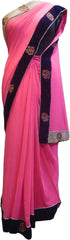 SMSAREE Pink Designer Wedding Partywear Georgette (Viscos) Beads & Stone Hand Embroidery Work Bridal Saree Sari With Blouse Piece F502