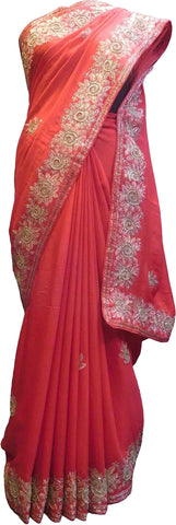 SMSAREE Red Designer Wedding Partywear Crepe (Chinon) Zari Beads Sequence & Thread Hand Embroidery Work Bridal Saree Sari With Blouse Piece F517