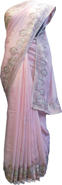 SMSAREE Pink Designer Wedding Partywear Silk Cutdana Beads Sequence & Thread Hand Embroidery Work Bridal Saree Sari With Blouse Piece F518