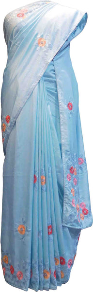 SMSAREE Blue Designer Wedding Partywear Silk Thread Pearl & Sequence Hand Embroidery Work Bridal Saree Sari With Blouse Piece F522