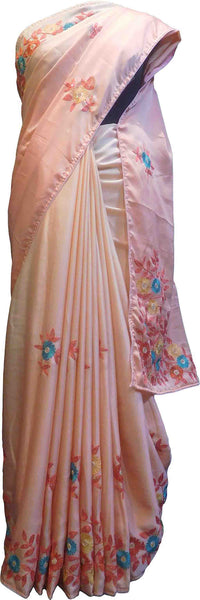 SMSAREE Peach Designer Wedding Partywear Silk Thread Pearl & Sequence Hand Embroidery Work Bridal Saree Sari With Blouse Piece F523